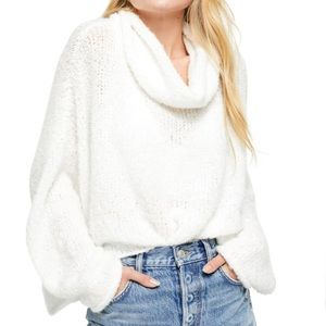 Free People White BFF Cowl Neck Sweater